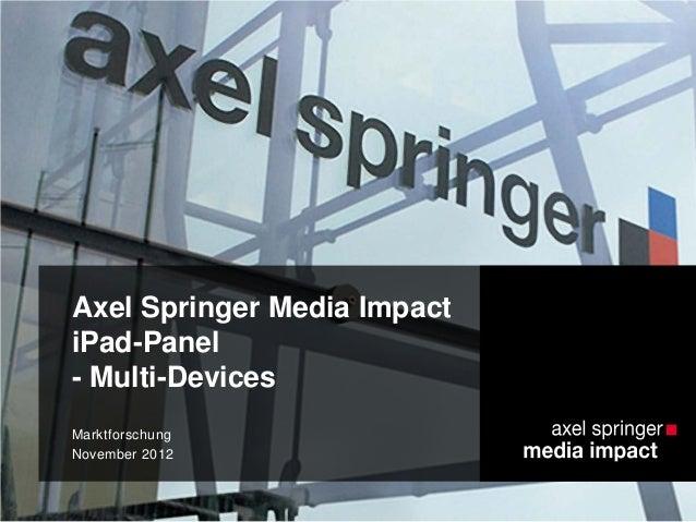 Axel Springer Media Impact iPad-Panel - Multi-Devices Marktforschung November 2012