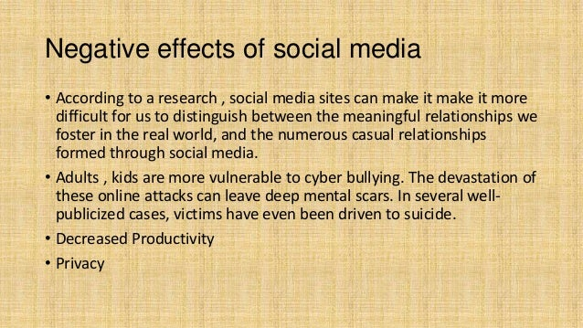 essay on social media negative effects Because the ways of life are changing and the unawareness of the negative impacts of social media has come and impact how social media essay now i will.