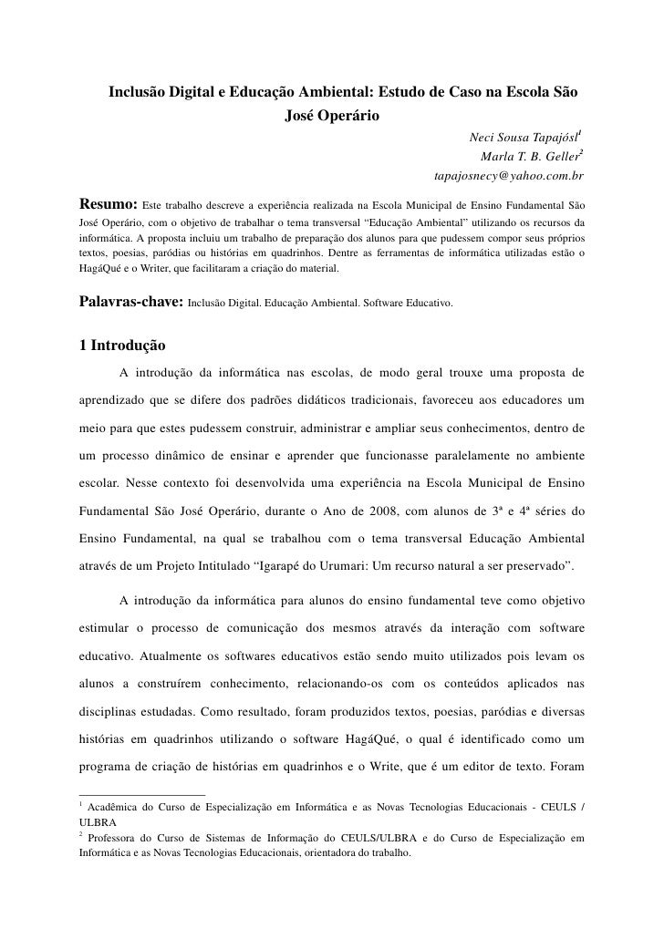 InclusãoDigitaleEducaçãoAmbiental:EstudodeCasonaEscolaSão                                  JoséOperário       ...