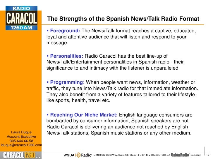 The Strengths of the Spanish News/Talk Radio Format                          Foreground: The News/Talk format reaches a c...