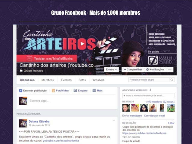 Grupo Facebook - Mais de 1.000 membros