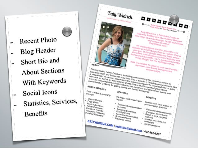 - Recent Photo - Blog Header - Short Bio and About Sections With Keywords - Social Icons - Statistics, Services, Benefits ...