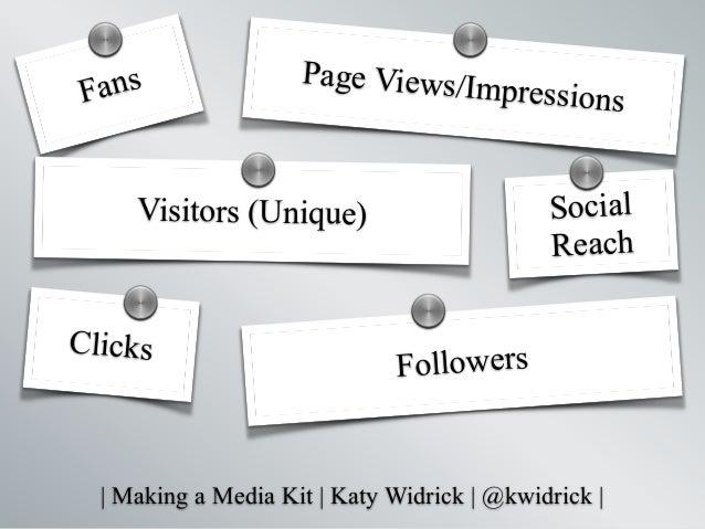   Making a Media Kit   Katy Widrick   @kwidrick   Fans Social Reach Followers Page Views/Impressions Visitors (Unique) Cli...