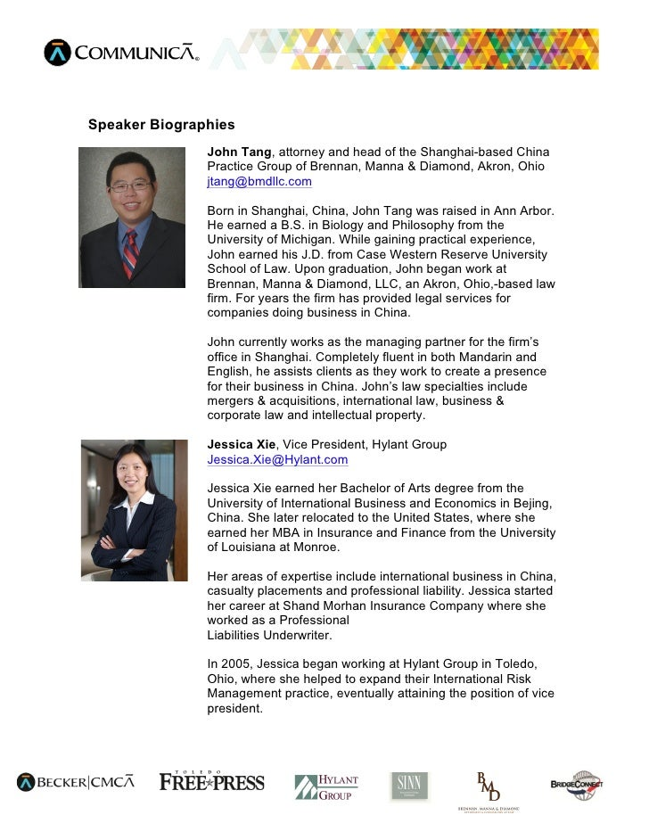 Speaker Biographies               John Tang, attorney and head of the Shanghai-based China               Practice Group of...