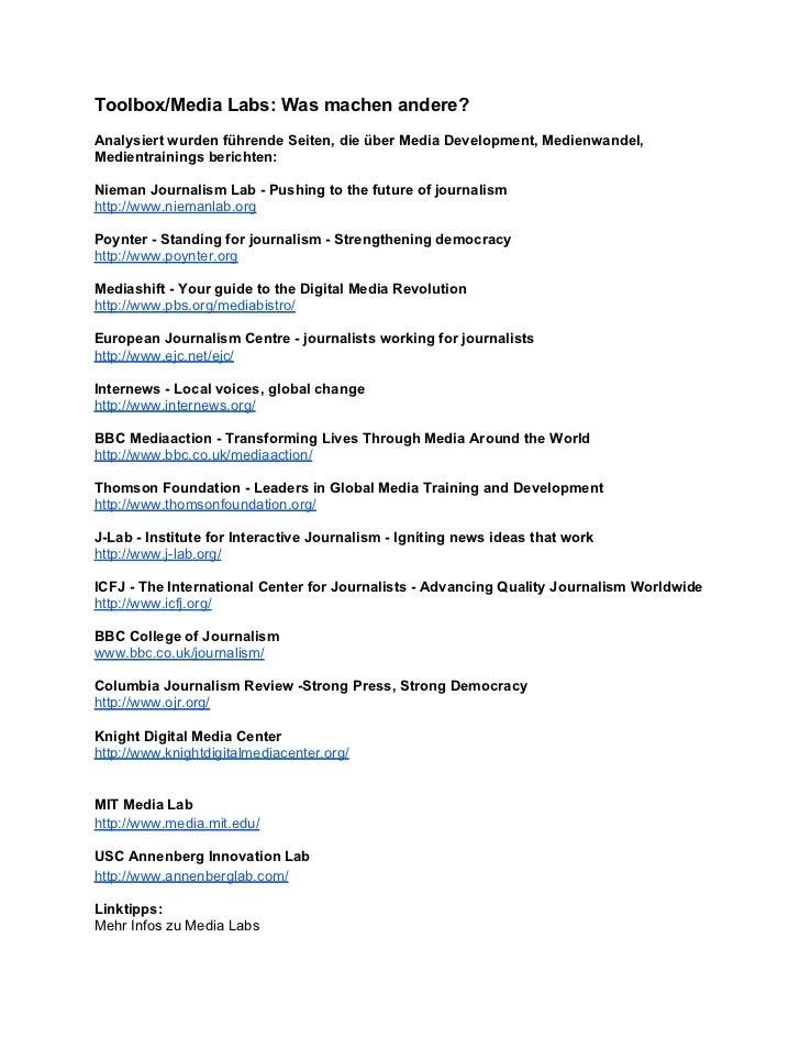 Toolbox/Media Labs: Was machen andere?Analysiert wurden führende Seiten, die über Media Development, Medienwandel,Medientr...