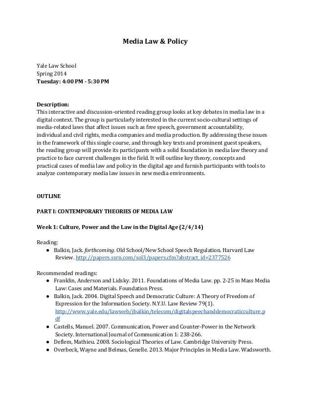 Media Law & Policy syllabus