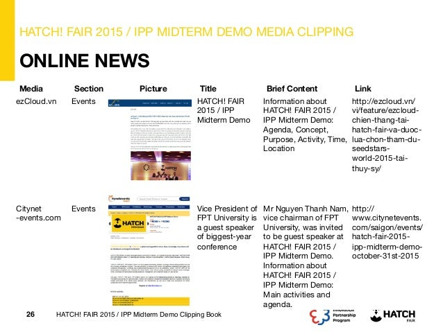 Media Clipping Book on HATCH! FAIR 2015 / IPP Midterm Demo