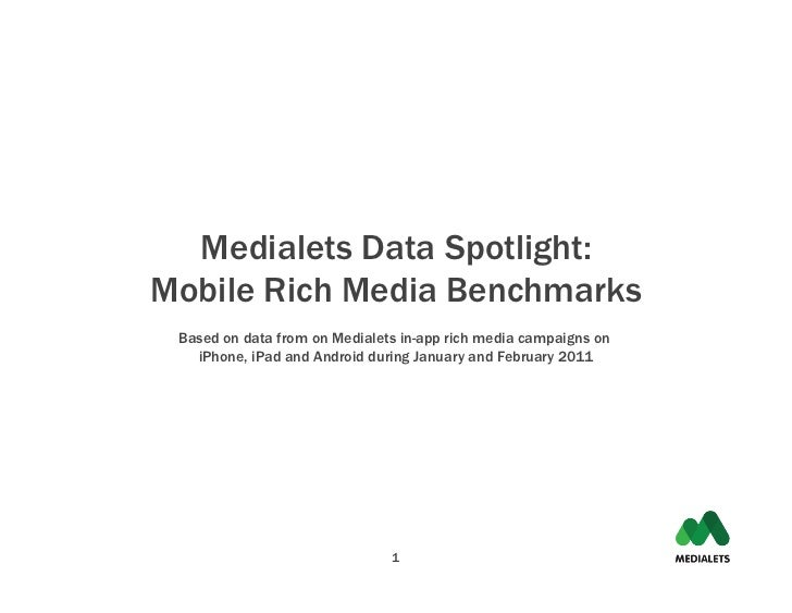 Medialets Data Spotlight:Mobile Rich Media Benchmarks Based on data from on Medialets in-app rich media campaigns on   iPh...