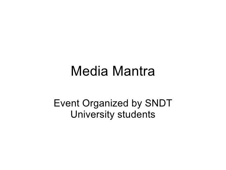 Media Mantra Event Organized by SNDT University students
