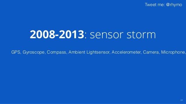 Tweet me: @rhymo 22 GPS, Gyroscope, Compass, Ambient Lightsensor, Accelerometer, Camera, Microphone, 2008-2013: sensor sto...