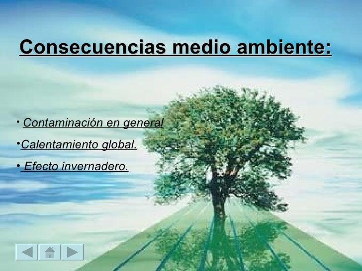 Consecuencias medio ambiente: <ul><li>Contaminación en general </li></ul><ul><li>Calentamiento global. </li></ul><ul><li>E...