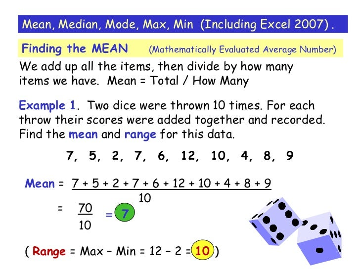 how to identify and calculate the mean median or mode
