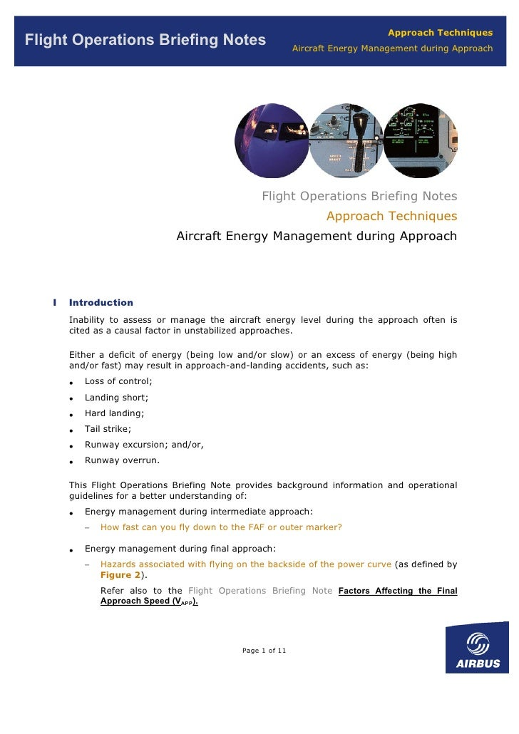 Approach Techniques Flight Operations Briefing Notes                             Aircraft Energy Management during Approac...