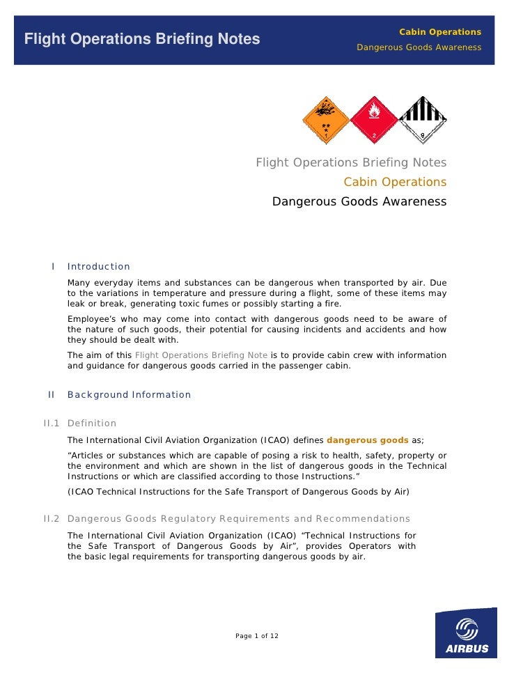 Cabin Operations Flight Operations Briefing Notes                                           Dangerous Goods Awareness     ...