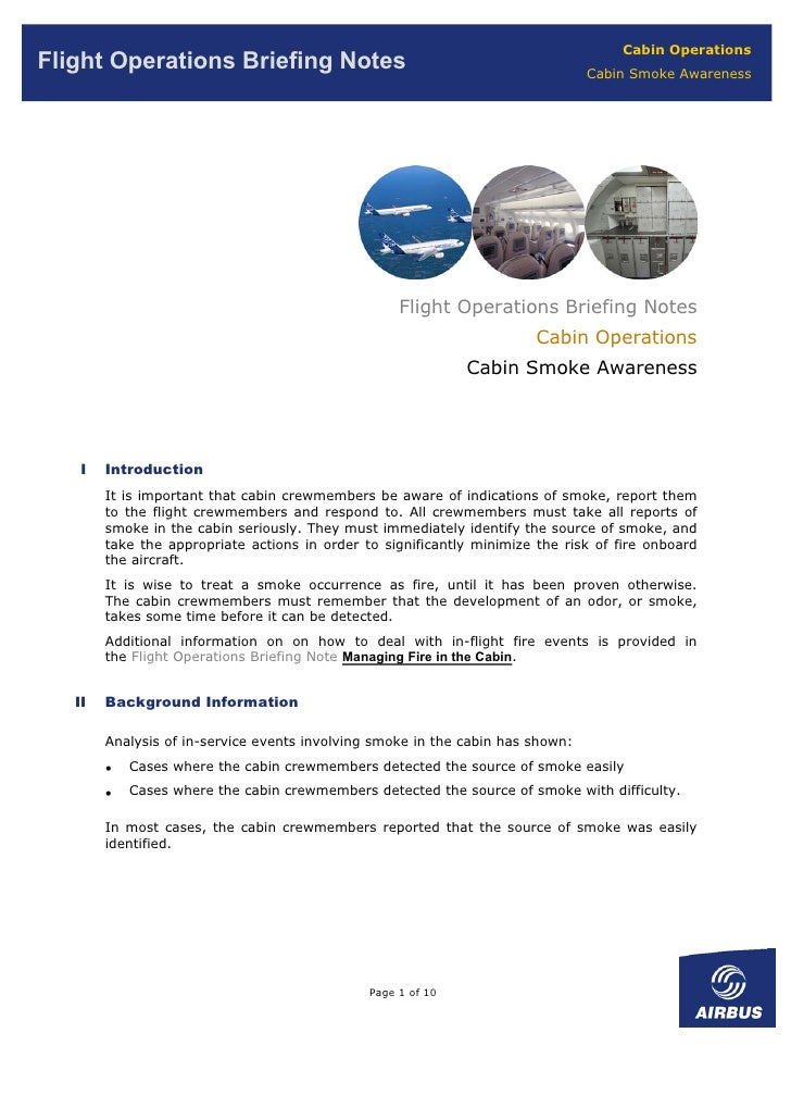 Cabin Operations Flight Operations Briefing Notes                                                Cabin Smoke Awareness    ...