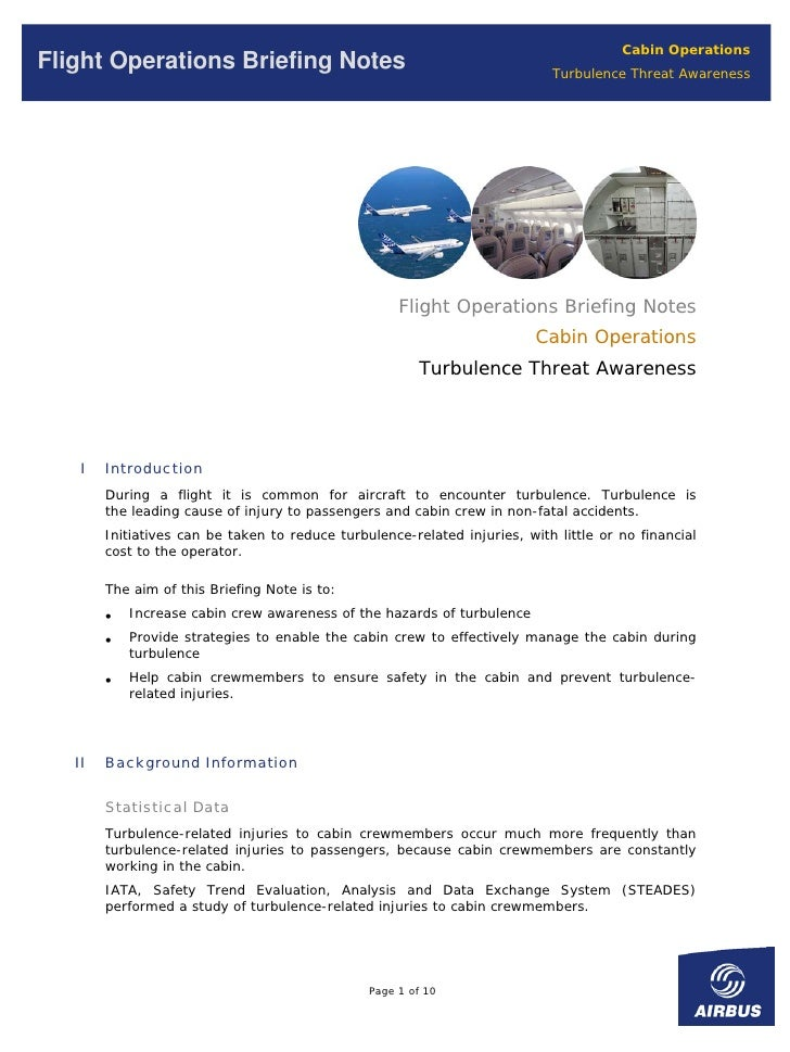 Cabin Operations Flight Operations Briefing Notes                                            Turbulence Threat Awareness  ...