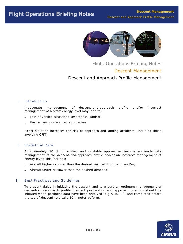 Descent Management Flight Operations Briefing Notes                                Descent and Approach Profile Management...