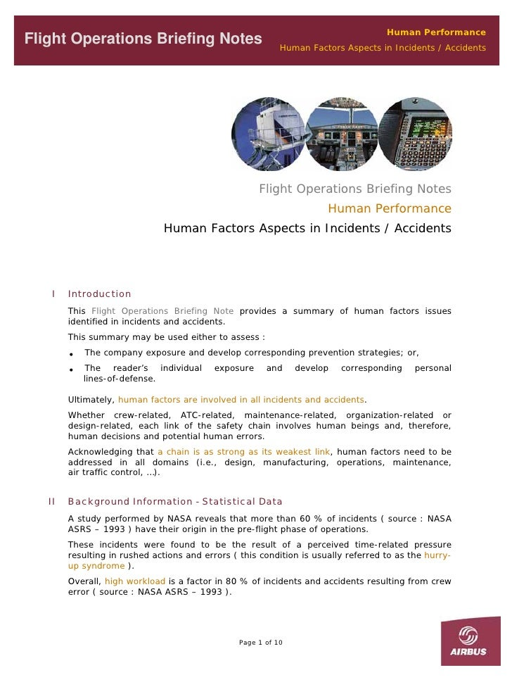 Human Performance Flight Operations Briefing Notes                            Human Factors Aspects in Incidents / Acciden...