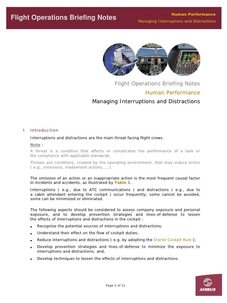 Human Performance Flight Operations Briefing Notes                                Managing Interruptions and Distractions ...