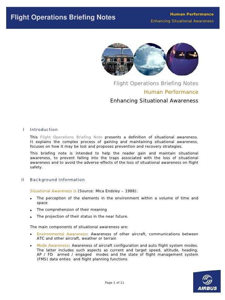 Human Performance Flight Operations Briefing Notes                                       Enhancing Situational Awareness  ...