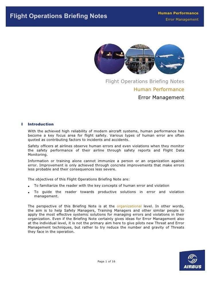 Human Performance Flight Operations Briefing Notes                                                             Error Manag...