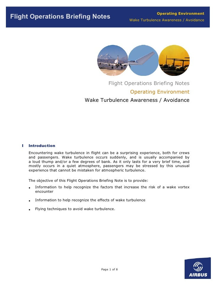 Operating Environment Flight Operations Briefing Notes                                Wake Turbulence Awareness / Avoidanc...