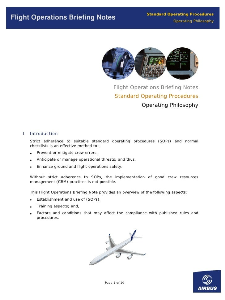 Standard Operating Procedures Flight Operations Briefing Notes                                                  Operating ...