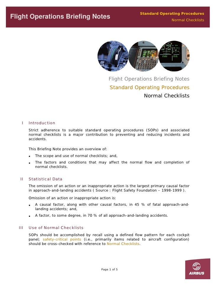 Standard Operating Procedures Flight Operations Briefing Notes                                                       Norma...