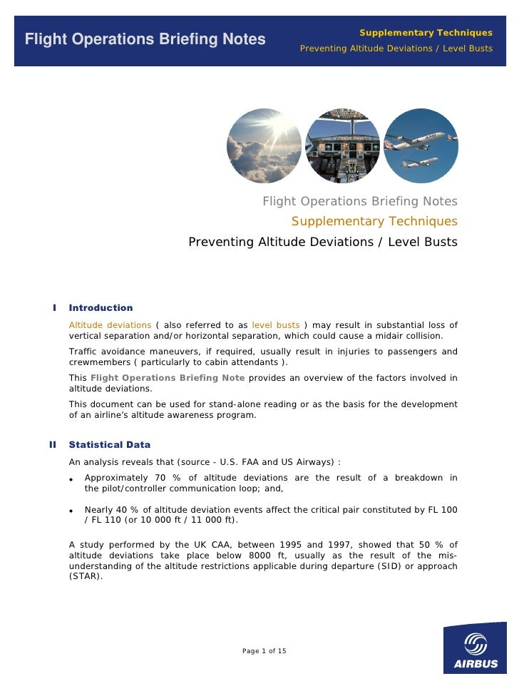 Supplementary Techniques Flight Operations Briefing Notes                                Preventing Altitude Deviations / ...