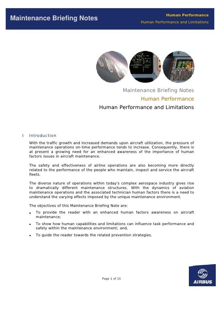 Human Performance Maintenance Briefing Notes                                         Human Performance and Limitations    ...