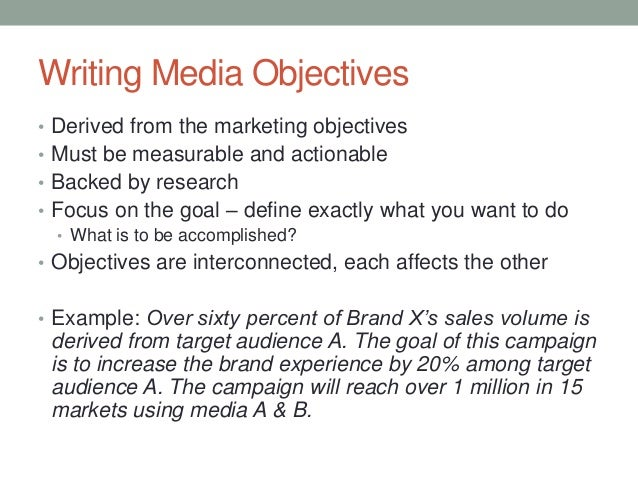 Media Objectives And Strategies 1.30.13