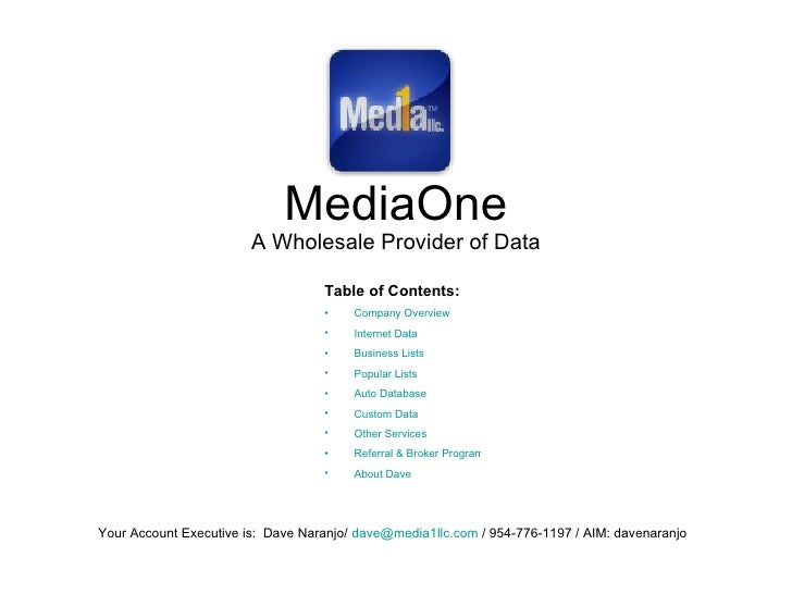 MediaOne A Wholesale Provider of Data Your Account Executive is:  Dave Naranjo/  [email_address]  / 954-776-1197 / AIM: da...
