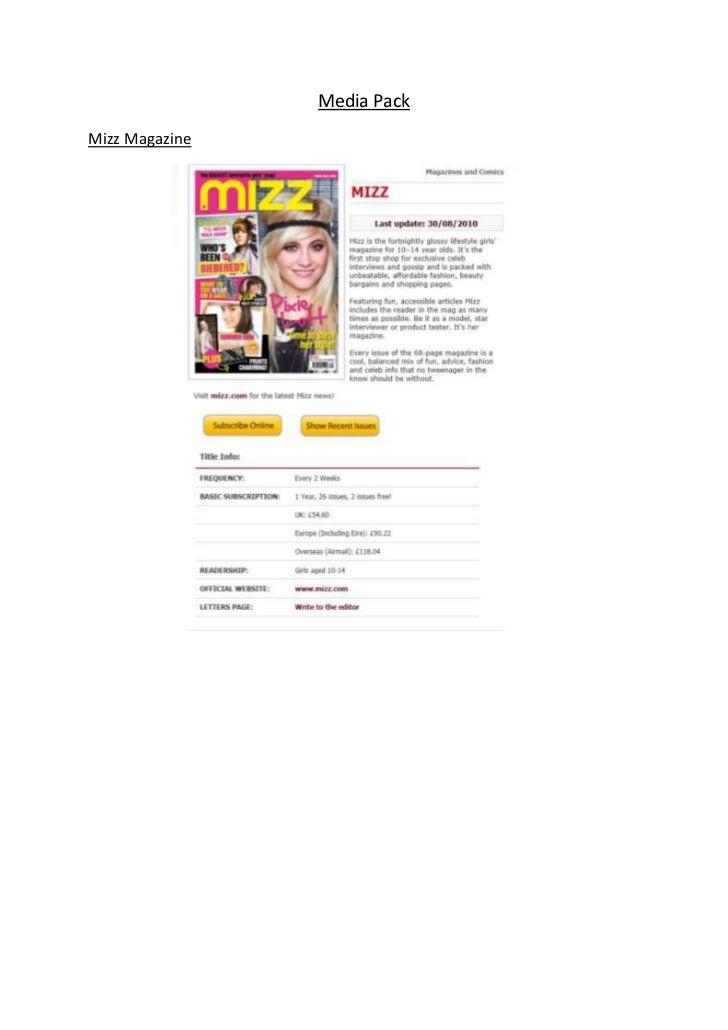 Media PackMizz Magazine