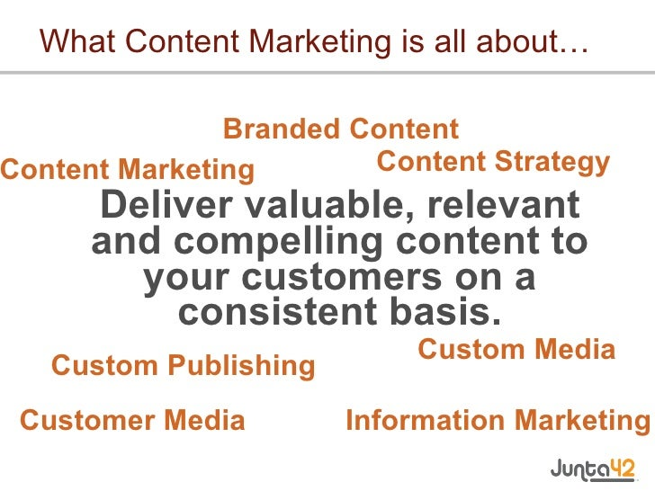 What Content Marketing is all about… <ul><li>Deliver valuable, relevant and compelling content to your customers on a cons...
