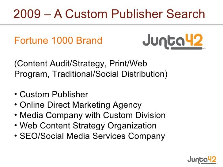 2009 – A Custom Publisher Search <ul><li>Fortune 1000 Brand (Content Audit/Strategy, Print/Web Program, Traditional/Social...