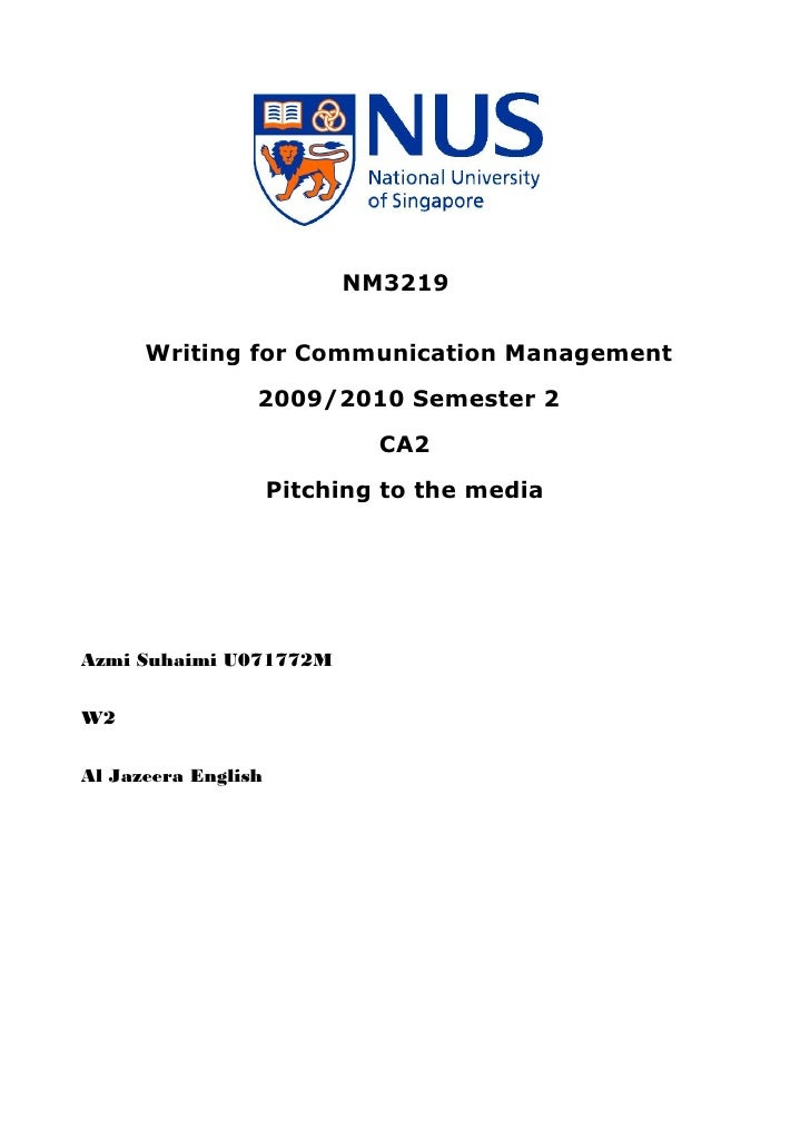 NM3219         Writing for Communication Management                  2009/2010 Semester 2                              CA2...