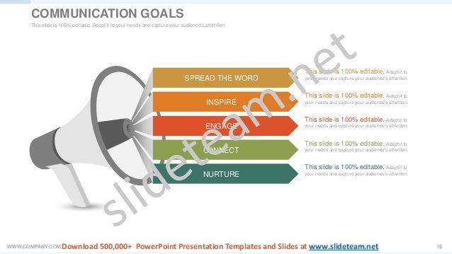 WWW.COMPANY.COM 15 SPREAD THE WORD INSPIRE ENGAGE C0NNECT NURTURE This slide is 100% editable. Adapt it to your needs and ...