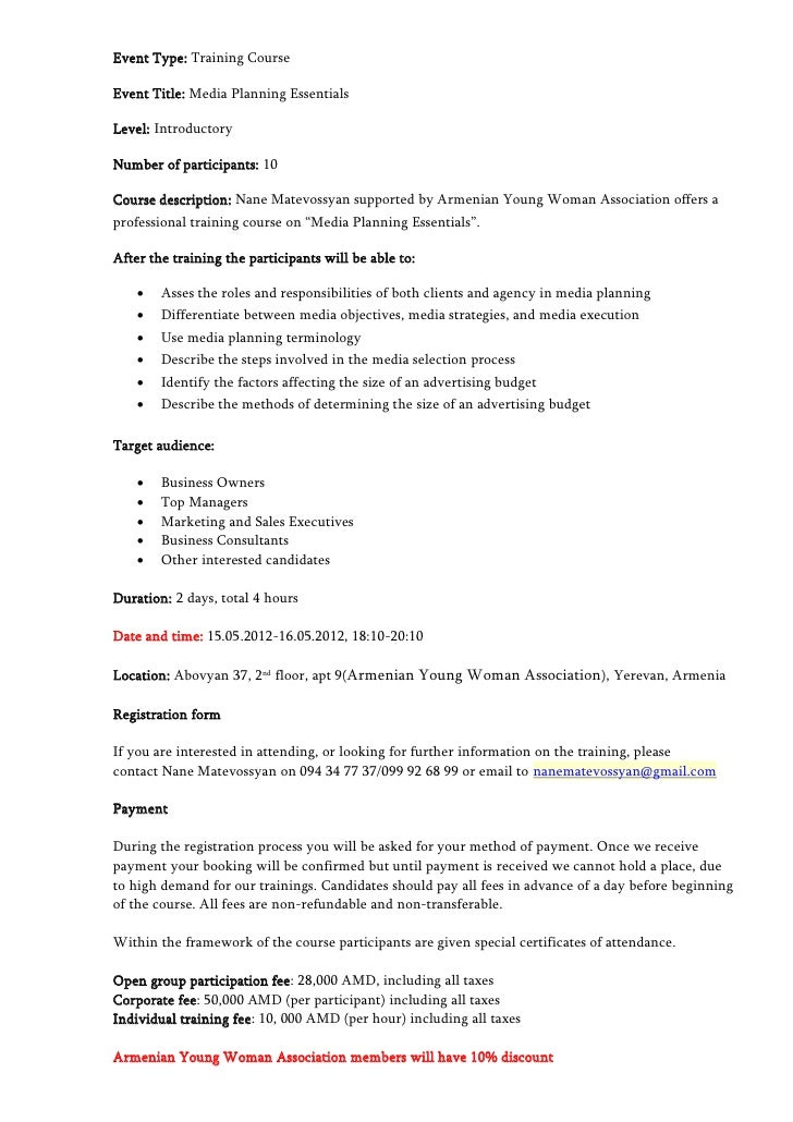 Event Type: Training Course  Event Title: Media Planning Essentials  Level: Introductory  Number of participants: 10  Cour...
