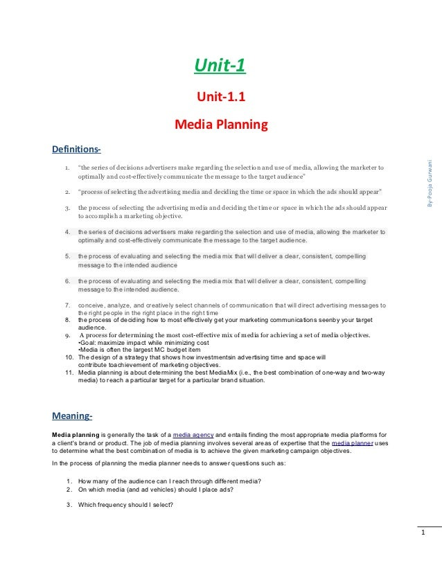Media planning components of media plan media scheduling media obj unit 1 fandeluxe Choice Image