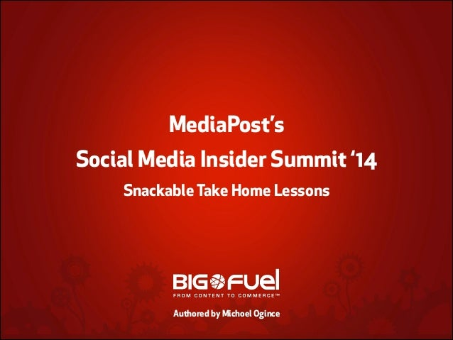 !  MediaPost's Social Media Insider Summit '14 Snackable Take Home Lessons ! ! ! Authored by Michoel Ogince