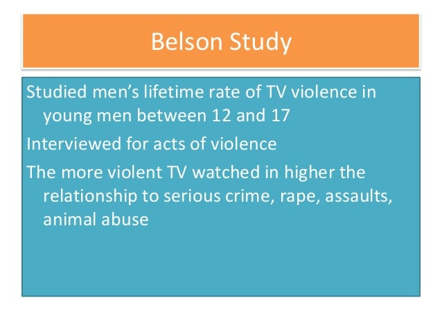 effects of crime and violence on television It is difficult to set down in a definitive way what effect media violence has on   games are not causally linked to youth crime, aggression, and dating violence.