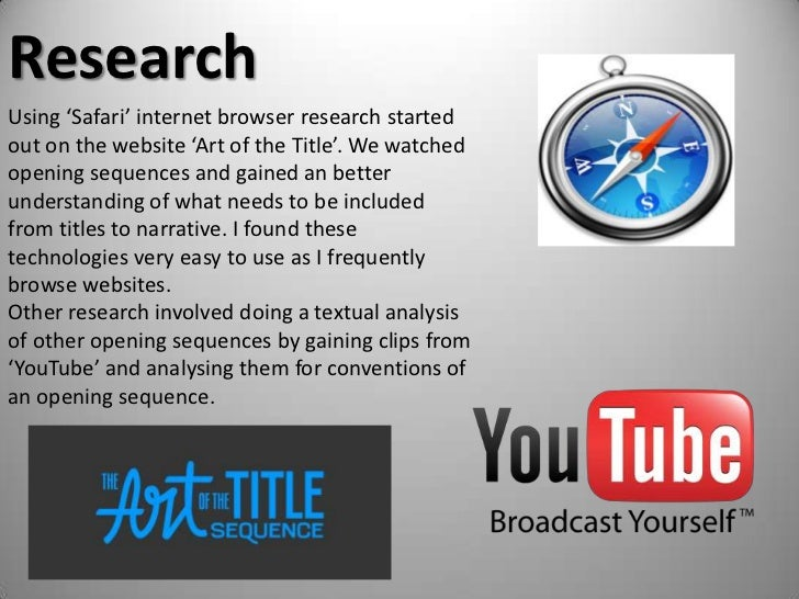 Research<br />Using 'Safari' internet browser research started out on the website 'Art of the Title'. We watched opening s...