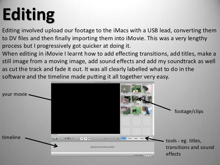 Editing<br />Editing involved upload our footage to the iMacs with a USB lead, converting them to DV files and then finall...
