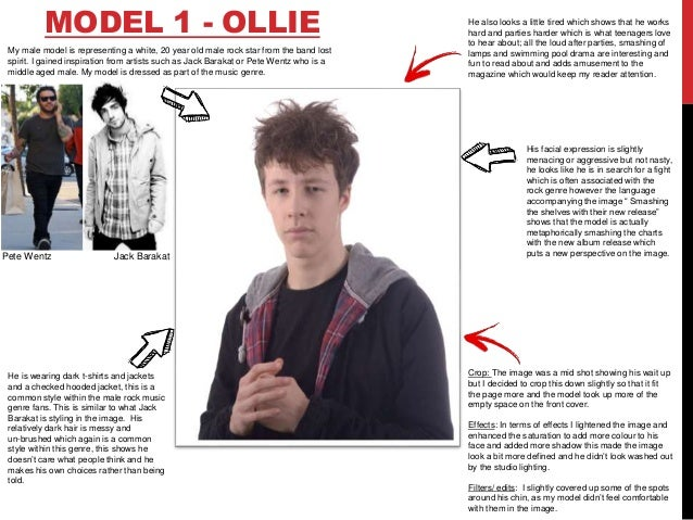 MODEL 1 - OLLIE My male model is representing a white, 20 year old male rock star from the band lost spirit. I gained insp...