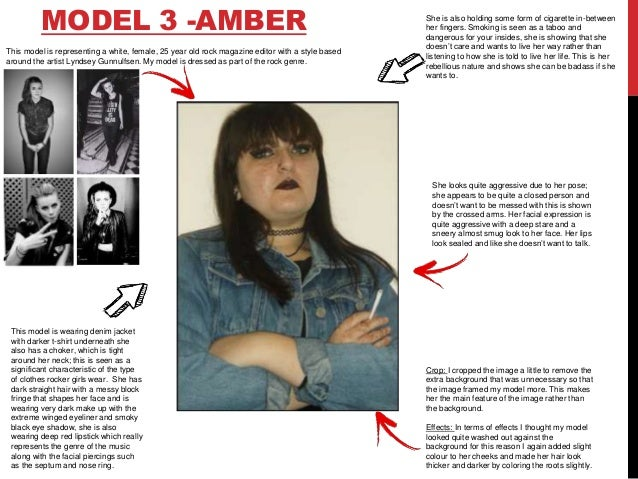 MODEL 3 -AMBER This model is wearing denim jacket with darker t-shirt underneath she also has a choker, which is tight aro...