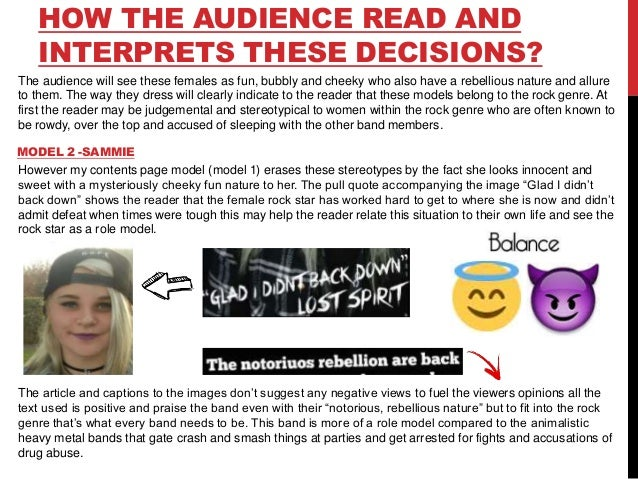 HOW THE AUDIENCE READ AND INTERPRETS THESE DECISIONS? The audience will see these females as fun, bubbly and cheeky who al...
