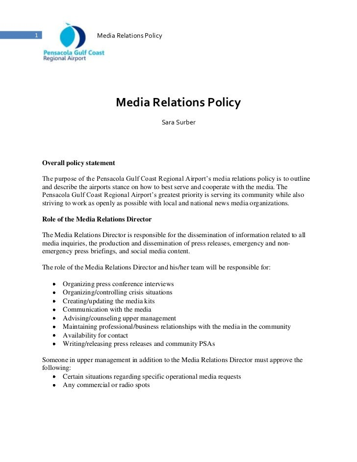 Pensacola Gulf Coast Regional Airport Media Relations Policy