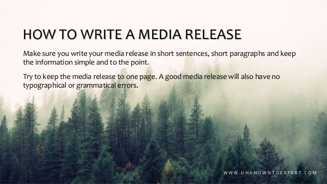 How to write a basic media release