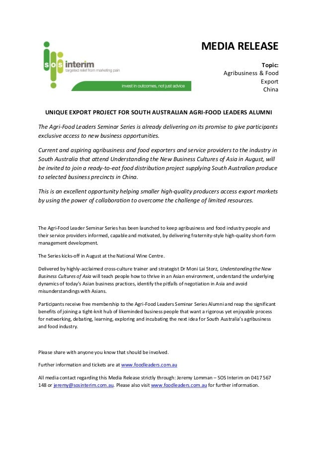 MEDIA RELEASE Topic: Agribusiness & Food Export China UNIQUE EXPORT PROJECT FOR SOUTH AUSTRALIAN AGRI-FOOD LEADERS ALUMNI ...