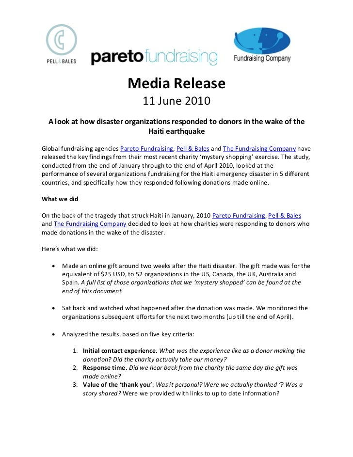 Media Release                                     11 June 2010   A look at how disaster organizations responded to donors ...
